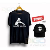 Kaos Tshirt I am Black Widow Baju Anime Amrvel Studio Bonus Topi
