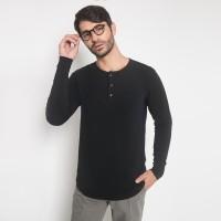 The One Tshirt - Longline Spandex - Plaket - Lengan Panjang - Hitam
