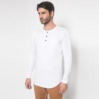 The One Tshirt - Longline Spandex - Plaket - Lengan Panjang - Putih