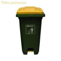 Krisbow 240 Ltr Tempat Sampah Pedal Outdoor - Hijau Kuning - premium