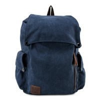 Urban State - Canvas PU Pocket Flap Backpack - Navy