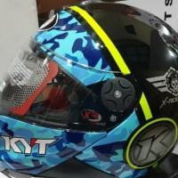Helm KYT x ROCKET Black blue yellow flow
