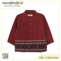 Kemeja Bayi / Baju Koko Anak / I am Cotton Shirt Koko Border Maroon
