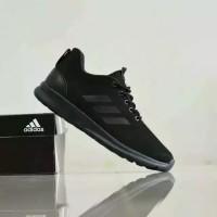 Sepatu Hitam Polos Adidas Fullblack Full Black Sekolah Kerja Jalan