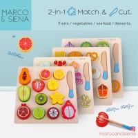 [PREMIUM] MARCO SIENA Mainan Puzzle Knob Kayu / 2in1 Wooden Match Cut