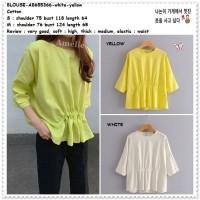 AB655366 Baju Atasan Wanita Blouse Korea Import Yellow Putih Jumbo