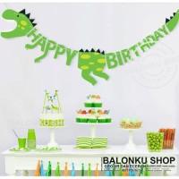Banner Happy Birthday Dinosaurus / Bunting Flag Ulang Tahun Dinosaurus