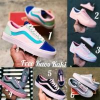 Vans Old Squll Size 36 - 40 Sepatu Wanita Sneakers Pink Abu Tosca Navy