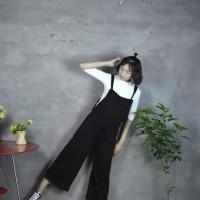 Promo Jumpsuit Baju Kodok Hitam Celana Kulot Fashion / Terusan Tin