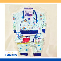 TAN-TAN Baby Set Baju Bayi, Topi, Sarung Tangan 0-3 bln Cartoon Unisex - Biru Muda