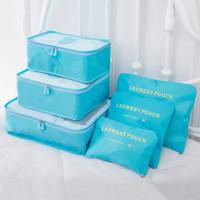 Travel Bag in Bag 6 in 1 Loundry Pouch, Koper Organizer ,Tas Murah - Biru Muda