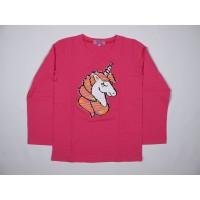 4YOU Baju Anak Kaos Lengan Panjang Reversible Unicorn Sequin Fusia
