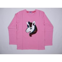 4YOU Baju Anak Kaos Lengan Panjang Reversible Unicorn Sequin Pink