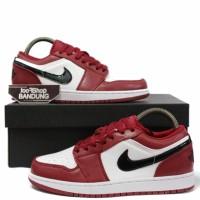 Sepatu Sneakers Nike Air Jordan Retro 1 Low Noble Red White Size 39-44
