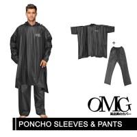 Set Jas Hujan Karet PVC 100% OMG Jubah Ponco Lengan Celana Anti Air