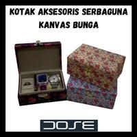 Kotak Aksesoris Perhiasan + Jam Tangan Serbaguna KANVAS BUNGA