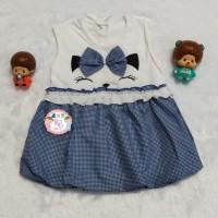 Baju bayi Perempuan Dress motif Kucing Pita usia 0-12 bulan