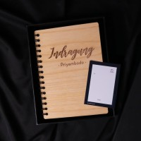 Gift Set Wooden Notebook | Hadiah Custom Kado Buku Kayu Nama Custom