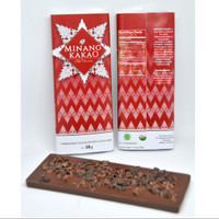 Premium Milk Chocolate with crunchy Cocoa Nibs   38gr   Minang Kakao