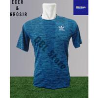 Baju Fitness Jogging olahraga Adidas Import Dry fit oblong Biru Oreo - Biru Arrow, M