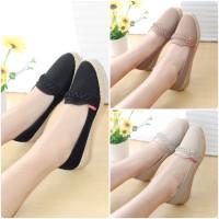 Flatshoes Sepatu Wanita Kulit Flat Shoes Kepang Teplek M011 JECK
