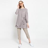 Baju Atasan Wanita Zarma Karin Tunik Pastel - Mocca Dusty