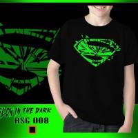 Kaos Anak Laki-Laki Superman Pecah Glow in the dark Rhymes Baju Import
