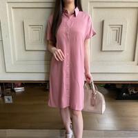 Dress Kemeja Polos Wanita Lengan Pendek Cewek Size M, L - V158 Kalisa