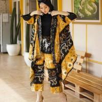 setelan wanita long cardigan celana kulot ethnic tenun blanket AT001