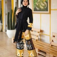 setelan wanita celana kulot blouse tunik ethnic tenun blanket AT001