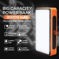 Powerbank Solar 30000mAh 4 USB + 3 input Lampu Spotlight Sorot LED