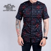 Baju batik slimfit lengan pendek trendy batik casual pria