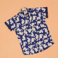 Pop Kidswear Dino Batik Blue Shirt - kemeja anak dinosaurus biru