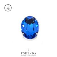 Batu Torenda Crystal Ceko Cangkang Oval Size 18x25mm (Blue Zircon)/Pcs