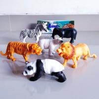 Mainan Hewan Liar Animal Set 3D Besar / Boneka Karet / Binatang 6 pcs