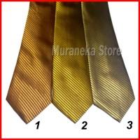 Dasi IMPORT Pria GOLD Panjang 3 Motif Garis Salur Setelan Kerja Kantor - 3.Cream Gold