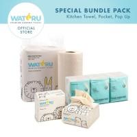 Wateru Natural Bamboo Tissue - 1pack Kitchen+1Pack PopUp+1Pocket