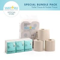 Wateru Natural Bamboo Tissue - 1pack Toilet Roll 6s+2Pack Pocket 6x10s