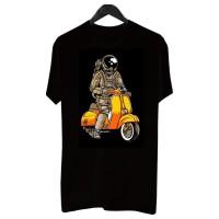 BF004 - Kaos Distro Pria T-Shirt Pria Kaos Pria Astronaut Riding Vespa