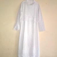 baju gamis brokat putih bekas ukuran 3 L