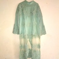 baju kebayam brokat bekas warna hijau tosca