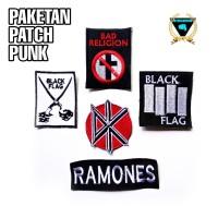 PAKET PATCH BORDIR PUNK DIY MUSIK EMBLEM DK BAD RELIGION BLACK FLAG