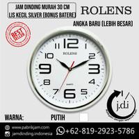 Jam Dinding Rolens Murah 30 cm Lis Kecil Silver+Putih (Bonus Batere) - AngkaBesarPutih