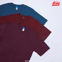PROMO - Kaos Polos Pendek Distro Katun Combed Premium Tritone - Unisex - S, Maroon Tritone