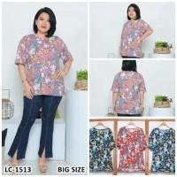 Kaos Oblong Wanita Baju Murah Atasan Motif Melar Jumbo Size LC 1513Big