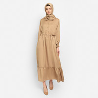 FTSL NIHALA Fashion Muslim Baju Gamis Wanita Terbaru Dress - Cokelat, all size