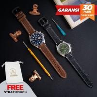 L3BK Tali Jam Tangan Kulit Asli Leather Strap Watch Fossil Seiko - 20mm, Light Brown