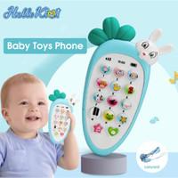 Telephone Mainan Bayi untuk Edukasi Dini Cover Silicone Musik Lampu - Biru Muda