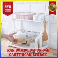 2 Susun Rak Bumbu Dapur Serbaguna dgn gantungan dan tempat sendok