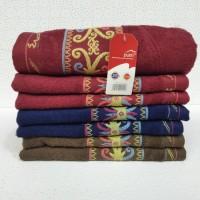 handuk merah putih list / uk 50 x 100 cm